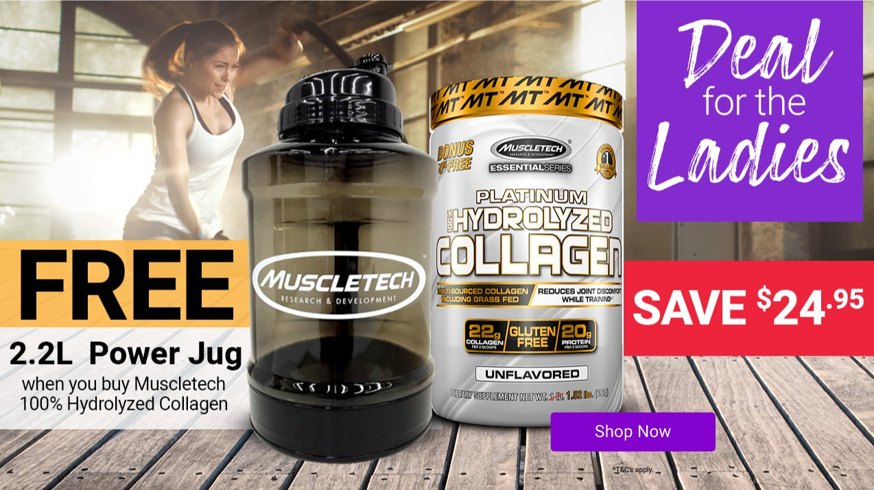 Get a FREE MuscleTech 2.2 Litre Power Jug when you purchase Platinum 100% Hydrolysed Collagen