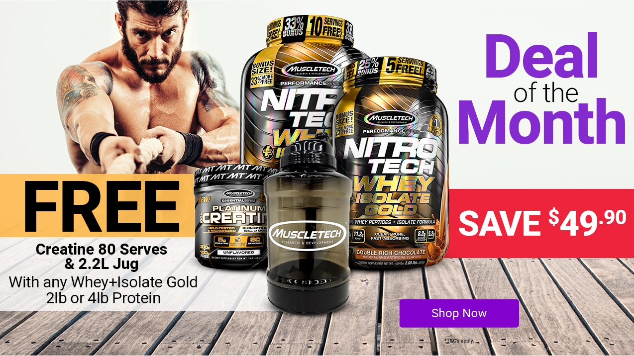 Deal of the Month: Get a Free Muscletech Creatine and Muscletech 2.2 Litre Jug with any Nitro-Tech Whey + Isolate Gold protein