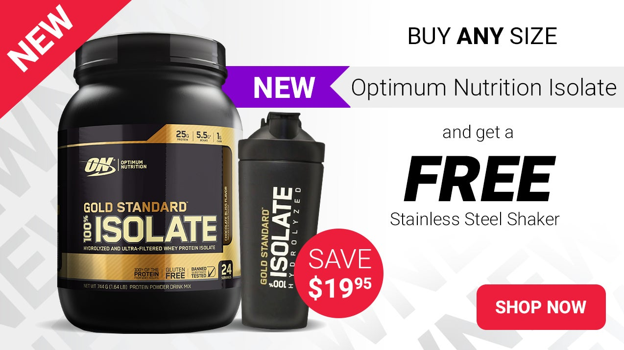 Buy Optimum Nutrition Gold Standard 100% Isolate any size and get a free Stainless Steel shaker