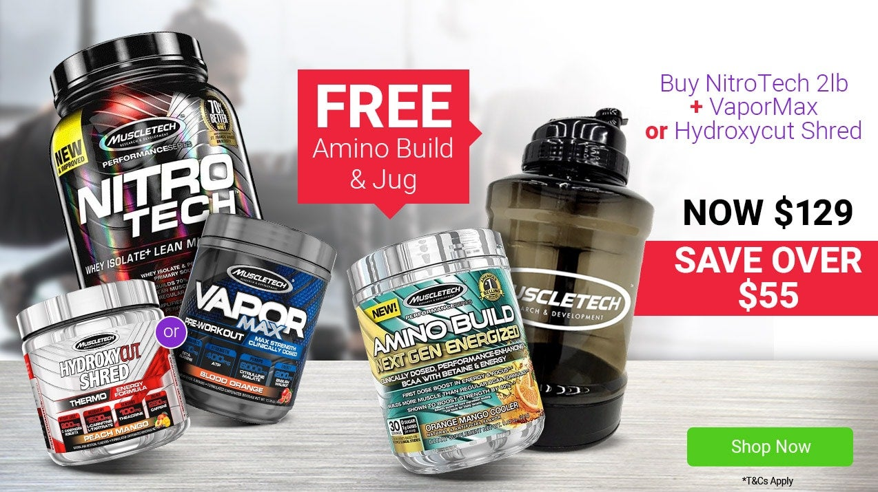 Buy NitroTech 2lb PLUS VaporMax 25 Serves OR Hydroxycut Shred, Get a FREE Amino Build (energised) 30 Serves + JUG. Now $129, SAVE OVER $55