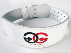 Leather Weight Lifting Belt (White)